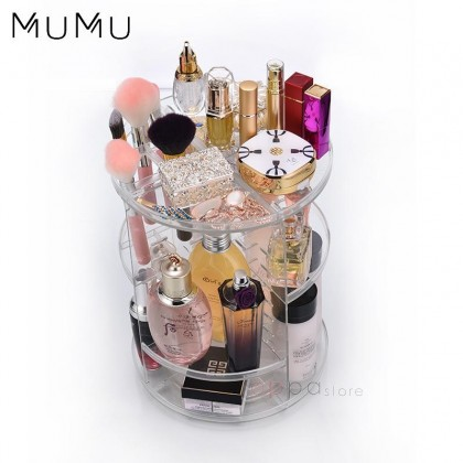 MUMU Style 360 Degree Rotating 3 Tier Acrylic Cosmetics Makeup Organizer Storage Rack