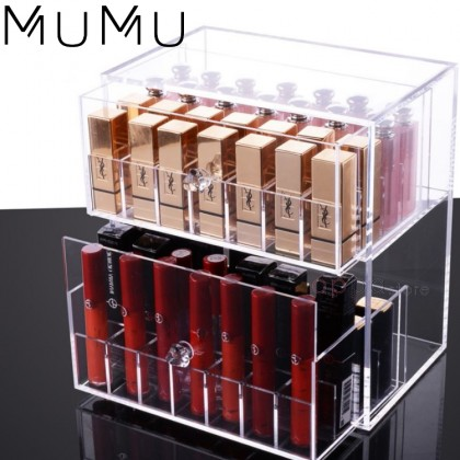 MUMU Style Clear Acrylic Dustproof 2 Tier Drawer Lipstick Storage Box Makeup Cosmetic Vanity Organizer Cases