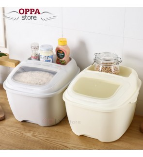 OS Seal 10KG Rice Storage Box Kitchen Grain Cereal Bean Food Container With Wheel Transparent Lid Cover Organizer